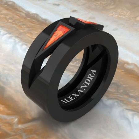 Alexandra-Jewelry-Mens-Avant-Garde-14K-Black-Gold-Triangle-Orange-Sapphire-Apollo-Wedding-Ring-A1011-14KBGOS-P