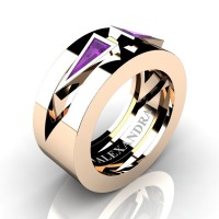 Mens Avant Garde 14K Rose Gold 1.0 Ct Triangle Amethyst Wedding Ring A1011-14KRGAM