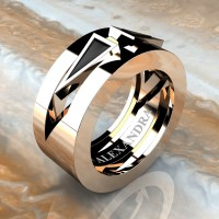 Mens Avant Garde 14K Rose Gold 1.0 Ct Triangle Black Diamond Wedding Ring A1011-14KRGBD