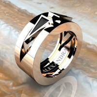 Mens Avant Garde 14K Rose Gold 1.0 Ct Triangle Black Diamond Wedding Ring A1011-14KRGBD