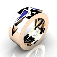 Mens Avant Garde 14K Rose Gold 1.0 Ct Triangle Blue Sapphire Wedding Ring A1011-14KRGBS