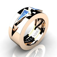 Mens Avant Garde 14K Rose Gold 1.0 Ct Triangle Blue Topaz Wedding Ring A1011-14KRGBT