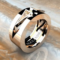 Mens Avant Garde 14K Rose Gold 1.0 Ct Triangle Champagne Diamond Wedding Ring A1011-14KRGCHD
