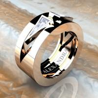 Mens Avant Garde 14K Rose Gold 1.0 Ct Triangle White Sapphire Wedding Ring A1011-14KRGWS