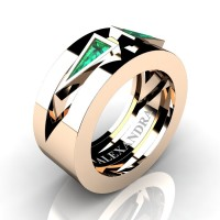 Mens Avant Garde 14K Rose Gold 1.0 Ct Triangle Emerald Wedding Ring A1011-14KRGEM