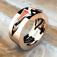 Mens Avant Garde 14K Rose Gold 1.0 Ct Triangle Orange Sapphire Wedding Ring A1011-14KRGOS