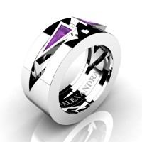 Mens Avant Garde 14K White Gold 1.0 Ct Triangle Amethyst Wedding Ring A1011-14KWGAM