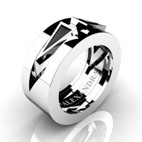 Mens Avant Garde 14K White Gold 1.0 Ct Triangle Black Diamond Wedding Ring A1011-14KWGBD