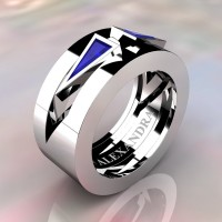 Mens Avant Garde 14K White Gold 1.0 Ct Triangle Blue Sapphire Wedding Ring A1011-14KWGBS