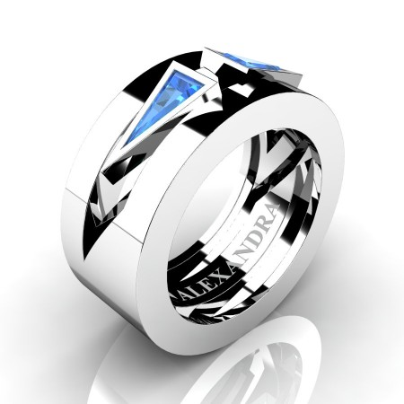 Alexandra-Jewelry-Mens-Avant-Garde-14K-White-Gold-Triangle-Blue-Topaz-Apollo-Wedding-Ring-A1011-14KWGBT-P