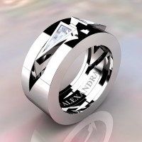 Mens Avant Garde 14K White Gold 1.0 Ct Triangle White Sapphire Wedding Ring A1011-14KWGWS