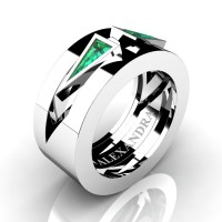 Mens Avant Garde 14K White Gold 1.0 Ct Triangle Emerald Wedding Ring A1011-14KWGEM