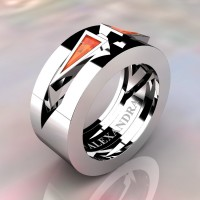 Mens Avant Garde 14K White Gold 1.0 Ct Triangle Orange Sapphire Wedding Ring A1011-14KWGOS