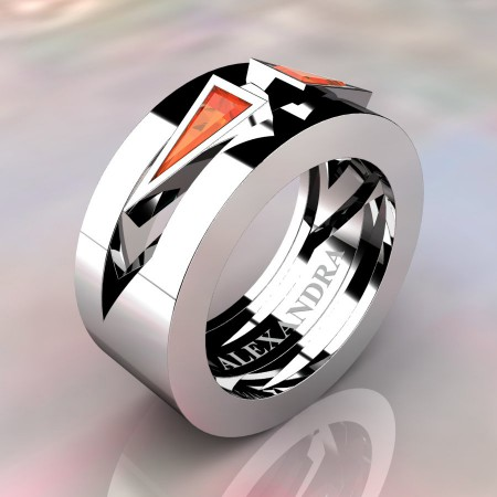 Alexandra-Jewelry-Mens-Avant-Garde-14K-White-Gold-Triangle-Orange-Sapphire-Apollo-Wedding-Ring-A1011-14KWGOS-P2
