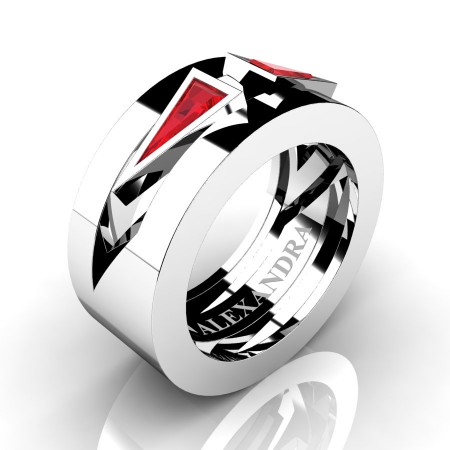 Alexandra-Jewelry-Mens-Avant-Garde-14K-White-Gold-Triangle-Ruby-Apollo-Wedding-Ring-A1011-14KWGR-P2