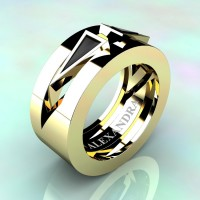 Mens Avant Garde 14K Yellow Gold 1.0 Ct Triangle Black Diamond Wedding Ring A1011-14KYGBD