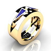 Mens Avant Garde 14K Yellow Gold 1.0 Ct Triangle Blue Sapphire Wedding Ring A1011-14KYGBS