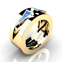 Mens Avant Garde 14K Yellow Gold 1.0 Ct Triangle Blue Topaz Wedding Ring A1011-14KYGBT