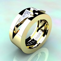 Mens Avant Garde 14K Yellow Gold 1.0 Ct Triangle White Sapphire Wedding Ring A1011-14KYGWS