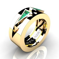 Mens Avant Garde 14K Yellow Gold 1.0 Ct Triangle Emerald Wedding Ring A1011-14KYGEM