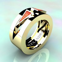 Mens Avant Garde 14K Yellow Gold 1.0 Ct Triangle Orange Sapphire Wedding Ring A1011-14KYGOS