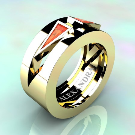 Alexandra-Jewelry-Mens-Avant-Garde-14K-Yellow-Gold-Triangle-Orange-Sapphire-Apollo-Wedding-Ring-A1011-14KYGOS-P