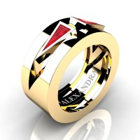 Mens Avant Garde 14K Yellow Gold 1.0 Ct Triangle Ruby Wedding Ring A1011-14KYGR