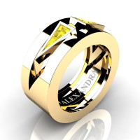 Mens Avant Garde 14K Yellow Gold 1.0 Ct Triangle Yellow Sapphire Wedding Ring A1011-14KYGYS