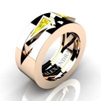 Mens Avant Garde 14K Rose Gold 1.0 Ct Triangle Yellow Sapphire Wedding Ring A1011-14KRGYS