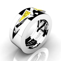 Mens Avant Garde 14K White Gold 1.0 Ct Triangle Yellow Sapphire Wedding Ring A1011-14KWGYS
