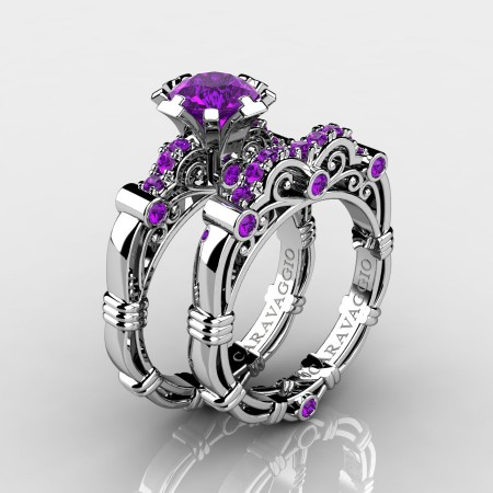 Art-Masters-Caravaggio-10K-White-Gold-1-0-Ct-Amethyst-Italian-Engagement-Ring-Wedding-Band-Set-R623S-10KWGAM-P