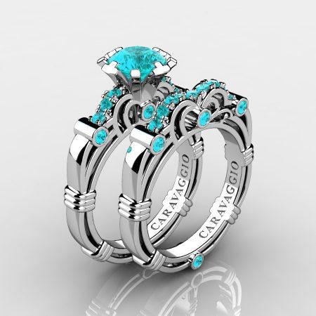 Art-Masters-Caravaggio-10K-White-Gold-1-0-Ct-Blue-Diamond-Italian-Engagement-Ring-Wedding-Band-Set-R623S-10KWGBLD-P