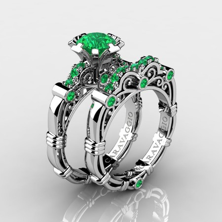 Art-Masters-Caravaggio-10K-White-Gold-1-0-Ct-Emerald-Italian-Engagement-Ring-Wedding-Band-Set-R623S-10KWGEM-P
