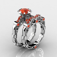 Art Masters Caravaggio 10K White Gold 1.0 Ct Padparadscha Engagement Ring Wedding Band Set R623S-10KWGPA