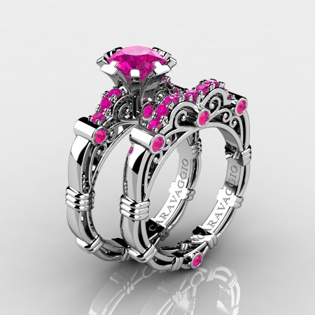 Art-Masters-Caravaggio-10K-White-Gold-1-0-Ct-Pink-Sapphire-Italian-Engagement-Ring-Wedding-Band-Set-R623S-10KWGPS-P