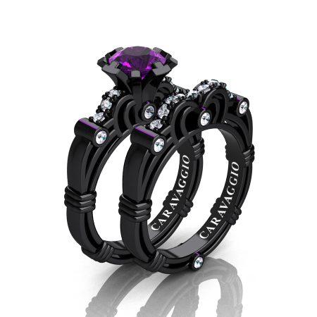 Art-Masters-Caravaggio-14K-Black-Gold-1-0-Carat-Amethyst-Diamond-Engagement-Ring-Wedding-Band-Set-R623S-14KBGAM-P