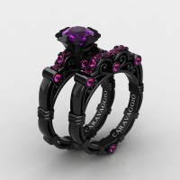 Art Masters Caravaggio 14K Black Gold 1.0 Ct Amethyst Pink Sapphire Engagement Ring Wedding Band Set R623S-14KBGPSAM
