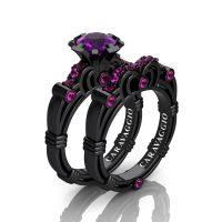Art Masters Caravaggio 14K Black Gold 1.0 Ct Amethyst Pink Sapphire Engagement Ring Wedding Band Set R623S-14KBGPSAM