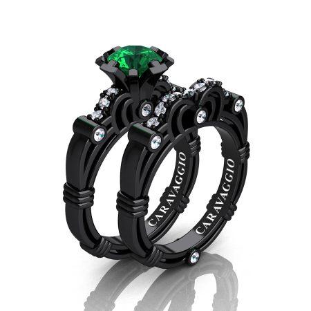 Art-Masters-Caravaggio-14K-Black-Gold-1-0-Carat-Emerald-Diamond-Engagement-Ring-Wedding-Band-Set-R623S-14KBGEM-P