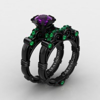 Art Masters Caravaggio 14K Black Gold 1.0 Ct Amethyst Emerald Engagement Ring Wedding Band Set R623S-14KBGEMAM