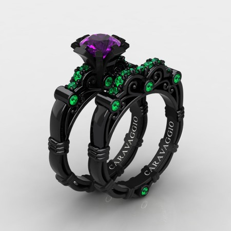 Art-Masters-Caravaggio-14K-Black-Gold-1-0-Ct-Amethyst-Emerald-Engagement-Ring-Wedding-Band-Set-R623S-14KBGEMAM-P