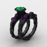 Art Masters Caravaggio 14K Black Gold 1.0 Ct Emerald Amethyst Engagement Ring Wedding Band Set R623S-14KBGAMEM