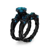 Art Masters Caravaggio 14K Black Gold 1.25 Ct Princess London Blue Topaz Engagement Ring Wedding Band Set R623PS-14KBGLBT