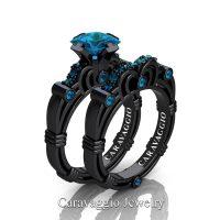 Art Masters Caravaggio 14K Black Gold 1.25 Ct Princess London Blue Topaz Engagement Ring Wedding Band Set R623PS-14KBGLBT
