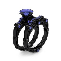 Art Masters Caravaggio 14K Black Gold 1.25 Ct Princess Tanzanite Engagement Ring Wedding Band Set R623PS-14KBGTA