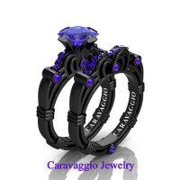 Art Masters Caravaggio 14K Black Gold 1.25 Ct Princess Tanzanite Engagement Ring Wedding Band Set R623PS-14KBGTA