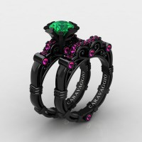 Art Masters Caravaggio 14K Black Gold 1.0 Ct Emerald Pink Sapphire Engagement Ring Wedding Band Set R623S-14KBGPSEM