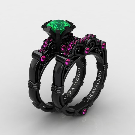 Art-Masters-Caravagio-14K-Black-Gold-1-0-Carat-Emerald-Pink-Sapphire-Engagement-Ring-Wedding-Band-Set-R623S-14KBGPSEM-P