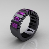 Mens Modern 14K Black Gold Baguette Amethyst Tank Wedding Ring R395-14KBGAM