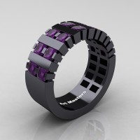 Mens Modern 14K Black Gold Princess Amethyst Cluster Tank Ring R397-14KBGAM